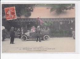 BESANCON : Les Fêtes En 1910 - Concours D'automobiles Fleuries (coq) (rare En Couleur) - Très Bon état - Besancon