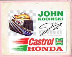 Sticker - JOHN KOCINSKI - SUPERBIKE WORLD CHAMPIONSHIP - Castrol - HONDA - BELL.Helmets - Autocollants