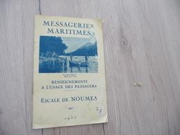 Messagerie Maritimes Bateau Paquebot Plaquette Touristique Pub Photos Plan Texte Escale De Nouméa Réunion 1935 En L'état - Barche
