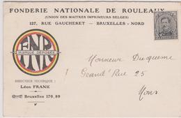 C.P. / Préo 2715B- Bruxelles 1921.Fonderie Nationale / L. Frank Brux-Nord - Precancels