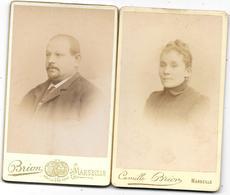 Photo Albuminée CDV  Ca 1880 - 2 Photos CAMILLE BRION à MARSEILLE  73 Rue St Ferréol    - Bords Dorés    ( Ref 8 - Fotos