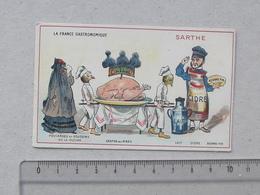 CHROMO L'EXPRESS-TEINTURE: SARTHE Série FRANCE GASTRONOMIQUE - Poularde De LA FLECHE Chapon Du MANS Beurre Cidre Lait - Trade Cards