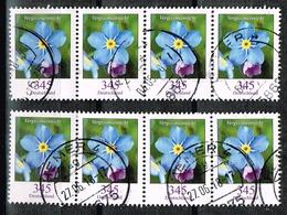 Bund 2017,Michel# 3324 O Blumen:Vergissmeinnicht, Waagerechter Viererstreifen - Used Stamps