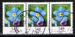 Bund 2017,Michel# 3324 O Blumen:Vergissmeinnicht, Waagerechter Dreierstreifen - [7] Federal Republic