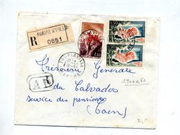 Lettre Recommandée Tourlaville Sur Joux Azur - Marcophilie (Lettres)