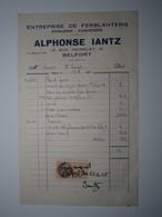 1935 BELFORT ALPHONSE IANTZ ENTREPRISE DE FERBLANTERIE Timbre Fiscal 50 Centimes - 1900 – 1949