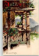 52110885 - Juli - Balkon - Bauernhaus - Berge - Sign. Guggenberger - Cartes Postales