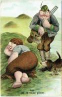 """Humour. Illustrateur. Chasseur Et Grosse Femme. """"Oh La Belle Pièce"""" - Humor"""