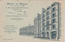CPA PUB RESTAURANT - GRAND  HOTEL DU RHONE - RUE JEAN-JACQUES ROUSSEAU - PARIS 1° - Hotels & Restaurants