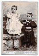 Photo Albuminée CAB Ca 1880 FLORENT MIESIENSKI à Avignon -2 JEUNES ENFANTS Fillette Et Garçon Au Fusil,beaux Habits R11 - Fotos