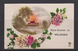 MALDEGEM-BEKE-MIJNE GROETEN UIT-ECHTE VERSTUURDE KAART-VERZONDEN-1925-ZIE DE 2 SCANS-MOOI! ! ! - Maldegem