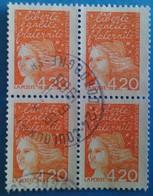 France 1997 : Type Marianne De Luquet N° 3094 Oblitéré En Bloc De Quatre - France