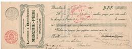 MANUFACTURE DE LINGERIE ET BONNETERIE MERCHIE & PEDE - TANNEURS - MIROIR - BRUXELLES - 1911. - Lettres De Change