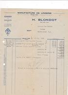 Facture 1935 Lingerie H. Blondot, Rue Des Cités, Saint-Dié, Vosges - Textile & Vestimentaire