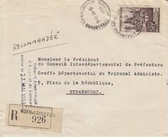 Env Reco Affr Y&T 917 Obl STRASBOURG KOENIGSHOFFEN Du 26.5.1953 Adressée à Strasbourg - Elzas-Lotharingen