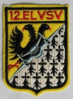 Grand écusson Tissu 12. ELVSV Aviation Militaire Française 12e Escadron De Chasse Cornouaille Base Aérienne Cambray - Aviation