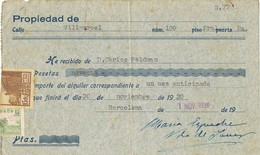 35875. Recibo Fiscal Municipal BARCELONA 1939. Sello Alquiler ATARAZANAS Y Cid - Fiscales