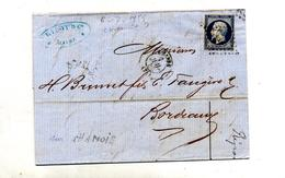 Lettre Cachet Losange Le Havre Sur Napoleon + Paris à Bordeaux - Storia Postale