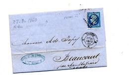 Lettre Cachet Losange Nantes Sur Napoleon + Beaucourt - Storia Postale
