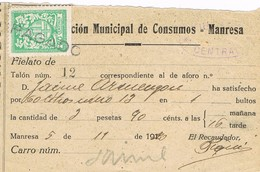 35876. Exaccion Municipal De Consumos, Fiscal Municipal MANRESA (Barcelona) 1920. - Fiscales