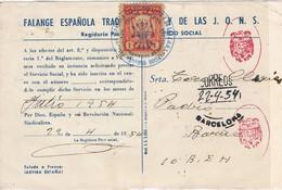 35877. Tarjeta Falange Española Y JONS, Servicio SOCIAL, Fiscal  1 Pta, BARCELONA 1954 - Fiscales