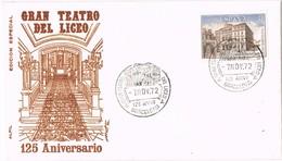 35882. Carta BARCELONA 1972, 125 Aniversario Gran Teatro LICEO - 1931-Hoy: 2ª República - ... Juan Carlos I
