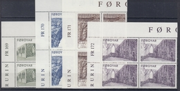 +Faroe Islands 1988. (f104). Kirkebuø Cathedral Ruin. 4 Blocs Of 4. Michel 176-79. MNH(**) - Faroe Islands