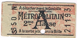Titre Transport Ticket Ancien  Métro PARIS Avec Publicité Verso - Monde