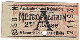 Titre Transport Ticket Ancien  Métro PARIS Avec Publicité Verso - Metro