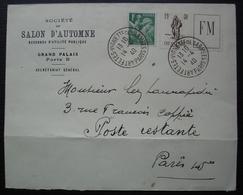 1940 Cachet Arts Fêtes Vignette Des Armées Paris, Timbre FM Infanterie Enveloppe Société Du Salon D'automne Grand Palais - Marcophilie (Lettres)