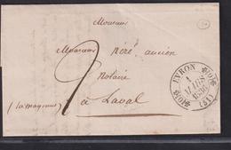 LETTRE DE LA MAYENNE AVEC CACHET TYPE 11 D 'EVRON LAC 1836 SUP - Storia Postale