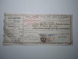 1936 BELFORT QUITTANCE DE PRIME Victor MARSOT BELFORT PALMYRE HECK Timbre Fiscal 75 Centimes - 1900 – 1949