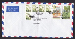Kenya: Airmail Cover To Netherlands, 1997, 7 Stamps, Volleyball, Africa Games, Ball Sports, Flowers (minor Crease) - Kenia (1963-...)