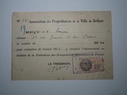 1933 BELFORT ASSOCIATION Des PROPRIÉTAIRES De La VILLE De BELFORT REÇU 20 Frs Timbre Fiscal 25 Centimes - 1900 – 1949