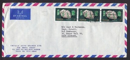 Kenya: Airmail Cover To Germany, 3 Stamps, Tourmaline Mineral, Mining (right Stamp Damaged) - Kenya (1963-...)