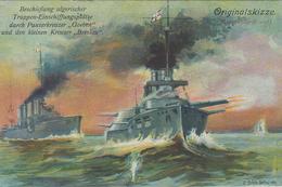 CARTE ALLEMANDE - GUERRE 14-18 - MARINE - PANZERKREUZER GOEBEN + KREUZER BRESLAU - War 1914-18