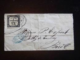 LETTRE DE BORDEAUX POUR BORDEAUX  -  1855  -  AVEC TAXE 15 C - Marcophilie (Lettres)