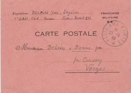 Carte Postale Franchise Militaire De SP 121 Cachet Poste Aux Armées 21/9/1939 à Sionne Par Coussey Vosges - Marcophilie (Lettres)