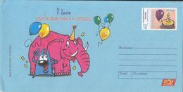 7886FM- INTERNATIONAL DAY OF THE CHILD, ELEPHANT, CAKE, COVER STATIONERY, 2007, ROMANIA - Ganzsachen