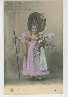 ENFANTS - LITTLE GIRL - MAEDCHEN - Jolie Carte Fantaisie Portrait Fillette Avec Fleurs Et Joli Chapeau - Ritratti