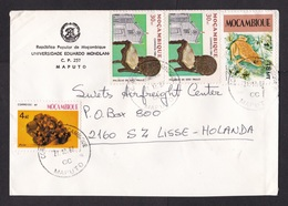 Mozambique: Cover To Netherlands, 1987, 4 Stamps, Frog, Palace, Chair, Pirite Mineral, Rare Real Use (traces Of Use) - Mosambik