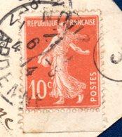 France. Semeuse 10 C Rouge, Carnet (1910 - IC -. Y& T. N°.138d ). Sur CP Nouzon - Presgaux/ Couvin Juin 1914 - 1906-38 Semeuse Camée
