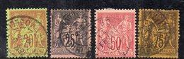 """T69 - FRANCIA 1884 , Serie Unificato N. 96/99  Usata  (M2200). """"N"""" Sotto La """"U"""" - 1876-1898 Sage (Tipo II)"""