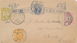 Nederland - 1898 -  5 Cent Hangend Haar, Postblad G2b + 3 Zegels Van Den Haag Naar Toronto / Canada - Entiers Postaux