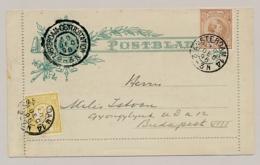 Nederland - 1896 -  3 Cent Hangend Haar, Postblad G3 + 7,5 Cent HH & 2 Cent Van KR Amsterdam/14 Naar Budapest / Hungary - Entiers Postaux