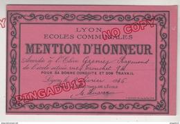 Au Plus Rapide Mention D'honneur Lyon Ecoles Communales - Diploma & School Reports