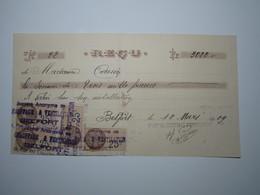 1929 BELFORT REÇU SOCIÉTÉ ANONYME De CHAUFFAGE & VENTILATION Timbre Fiscal 25 Centimes - 1900 – 1949