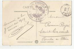 Marcophilie Cachet Annexe De Hopital D'évacuation N15 Dijon 21 Pour St Cannat 13- 1914 - Marcofilie (Brieven)