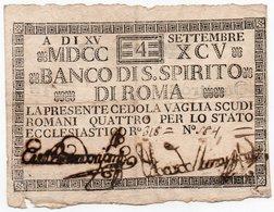 ITALIA-VATICANO-REPUBBLICA ROMANA-CEDOLA 4 SCUDI -1795 -BANCO S.SPIRITO DI ROMA - Vaticano (Ciudad Del)