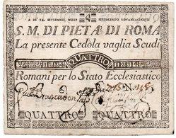 ITALIA-VATICANO-REPUBBLICA ROMANA-CEDOLA 4 SCUDI -1795 -BANCO S.M.DI PIETA DI ROMA - Vaticano (Ciudad Del)